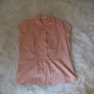 old navy kids size XL peach blouse collar sleeve